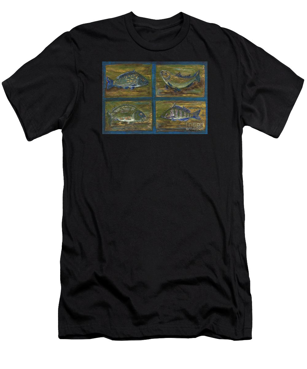 Folkartanna Men's T-Shirt (Athletic Fit) featuring the painting 4 Fishes by Anna Folkartanna Maciejewska-Dyba