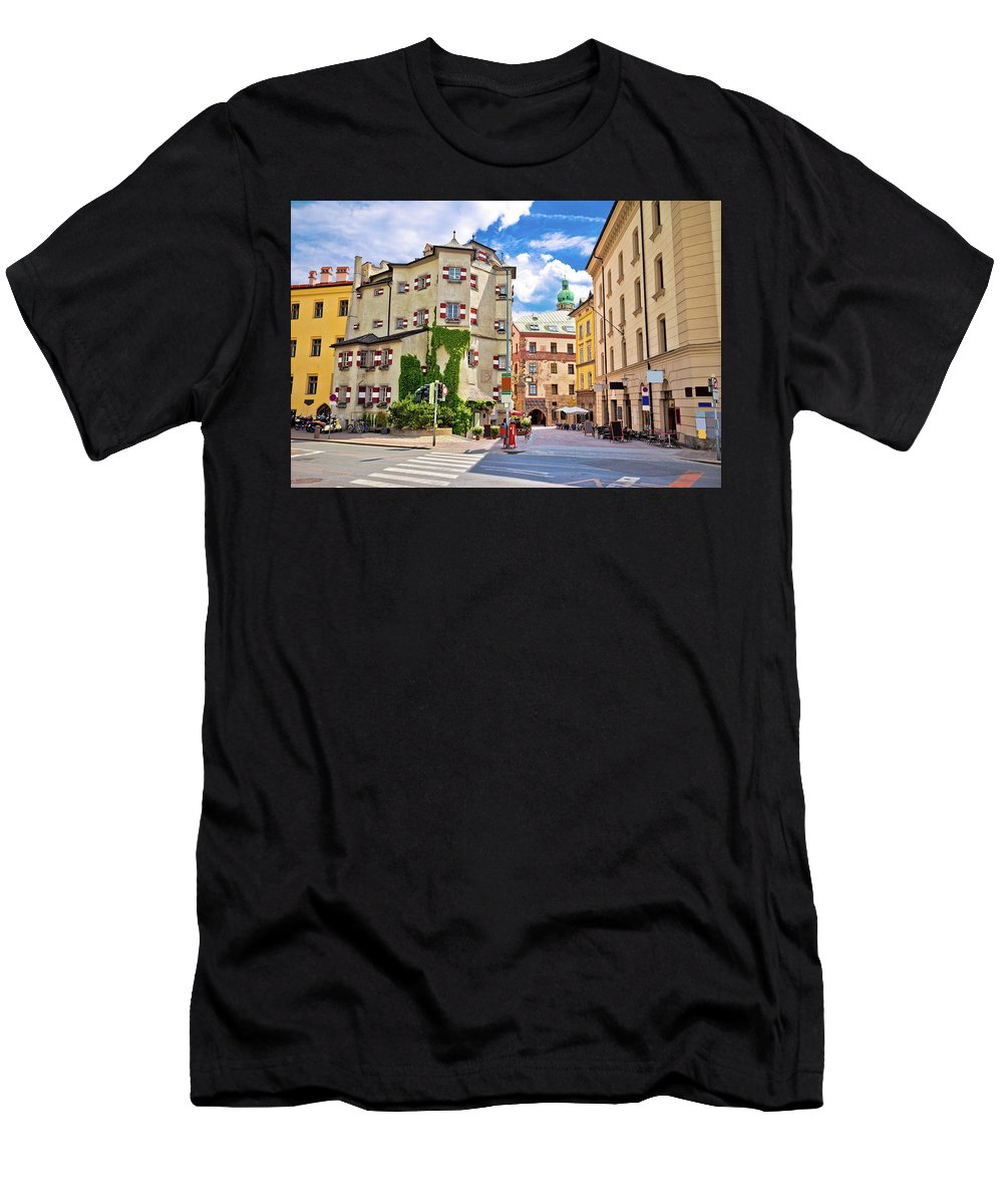 Innsbruck Men's T-Shirt (Athletic Fit) featuring the photograph Historic Street Of Innsbruck View by Brch Photography