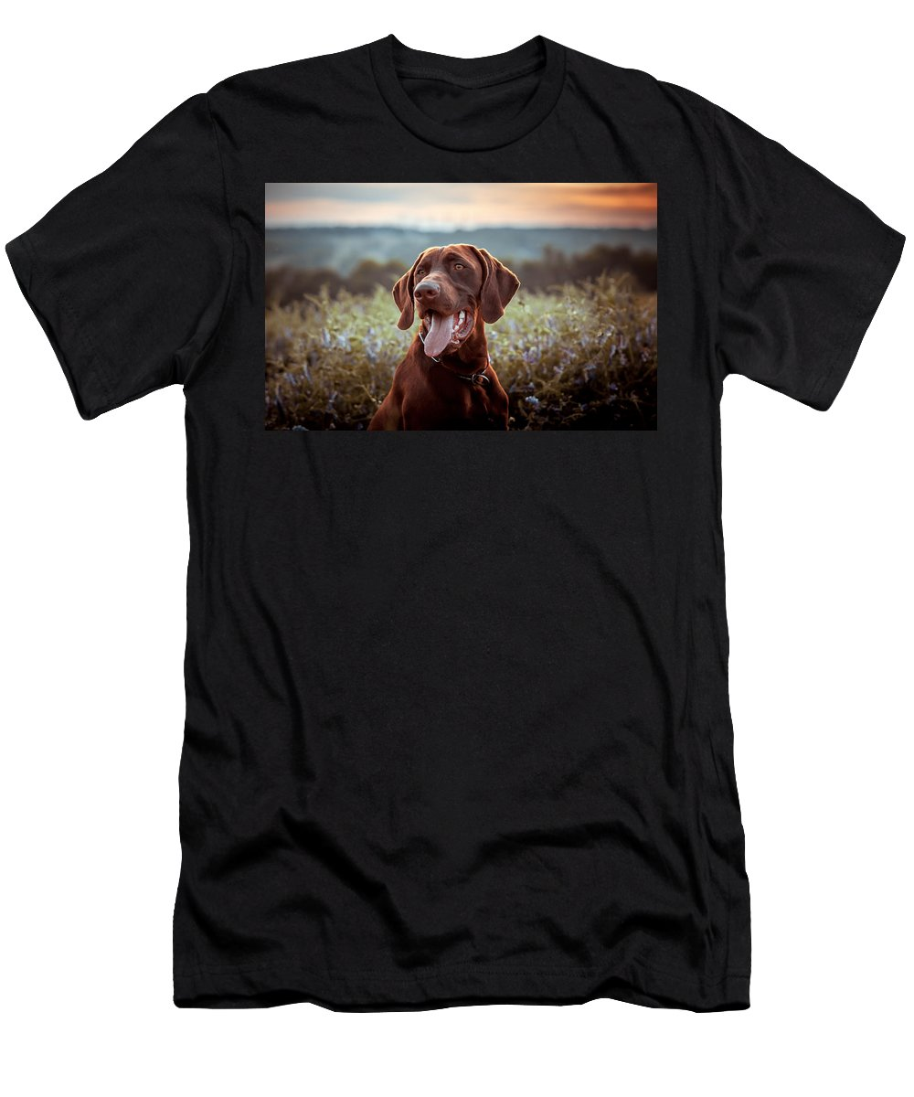 Men's T-Shirt (Athletic Fit) featuring the painting German Shorthaired Pointer by Elena Kovalenko