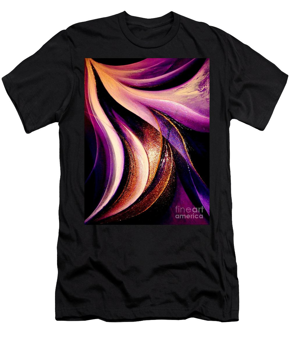 Light.dancing.flying.sky.sunshine.earth Men's T-Shirt (Athletic Fit) featuring the painting Light Dance by Kumiko Mayer