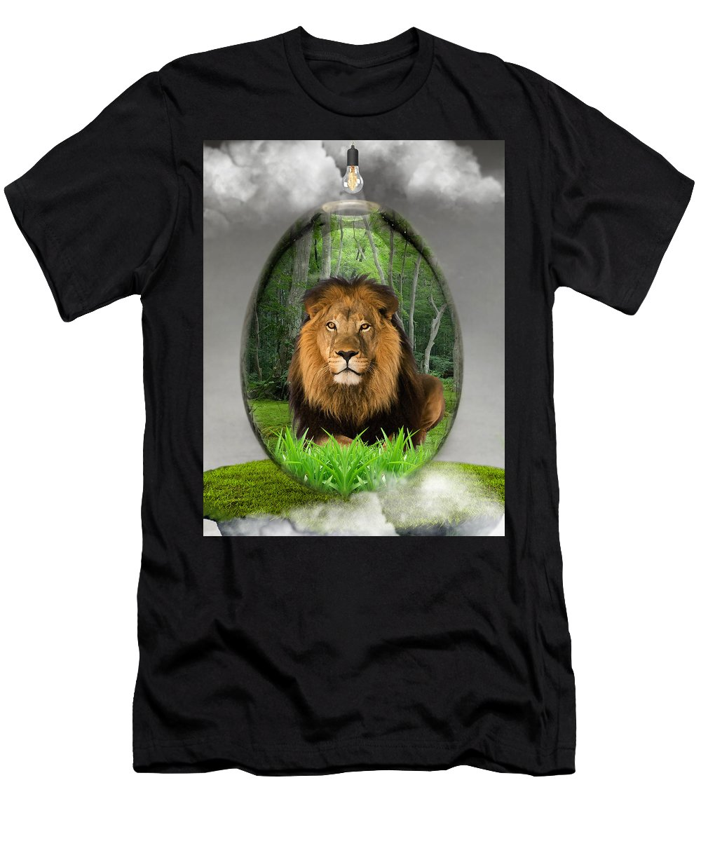 Lion Men's T-Shirt (Athletic Fit) featuring the mixed media Lion Art by Marvin Blaine