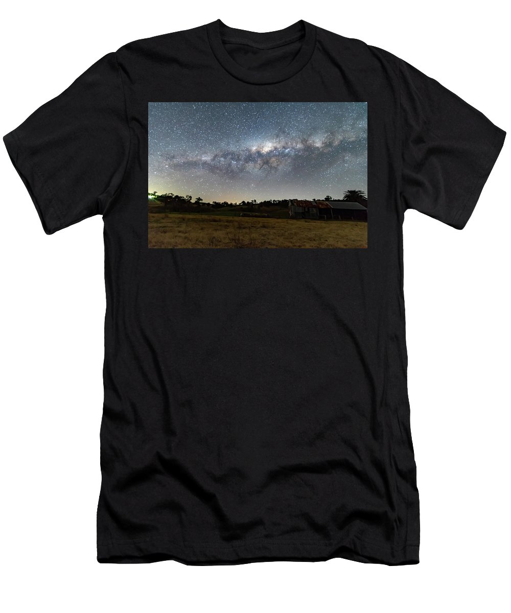 Astro Men's T-Shirt (Athletic Fit) featuring the photograph Milky Way Over A Farm Shed by Merrillie Redden