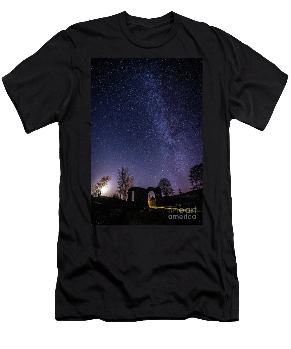 2017 Men's T-Shirt (Athletic Fit) featuring the photograph Milky Way Over The Ruins Of Strata Florida Abbey, Wales Uk by Keith Morris