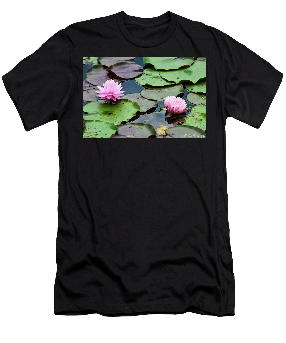 Diagonal Men's T-Shirt (Athletic Fit) featuring the photograph Pink Water Lily Series by Soni Macy