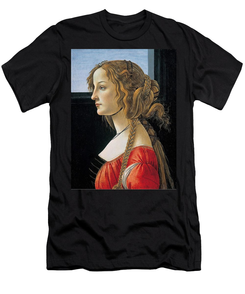 Sandro Botticelli Men's T-Shirt (Athletic Fit) featuring the painting Portrait Of A Young Woman by Sandro Botticelli