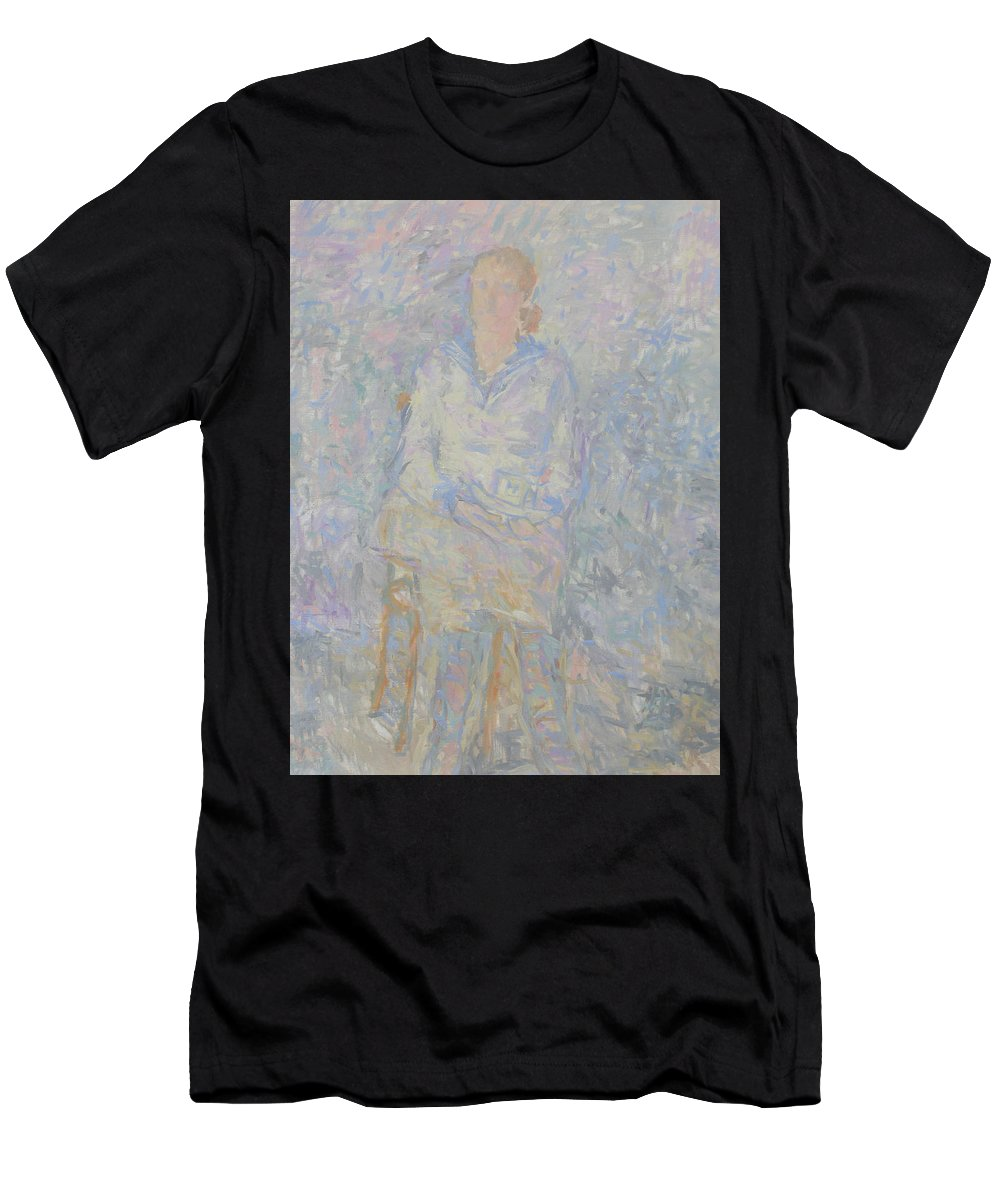 Person Men's T-Shirt (Athletic Fit) featuring the painting Portrait by Robert Nizamov
