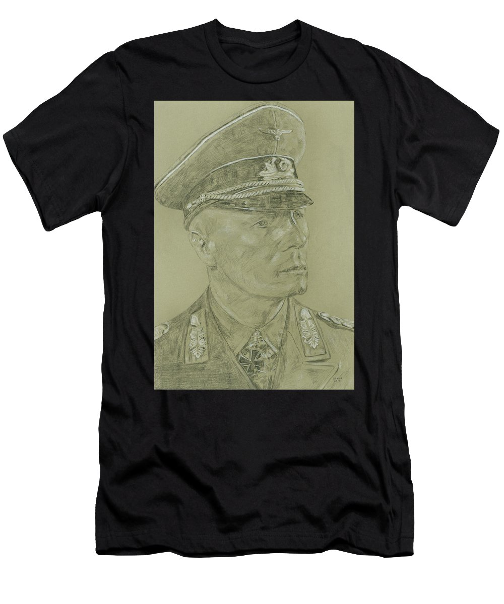 Rommel Men's T-Shirt (Athletic Fit) featuring the drawing Rommel by Dennis Larson
