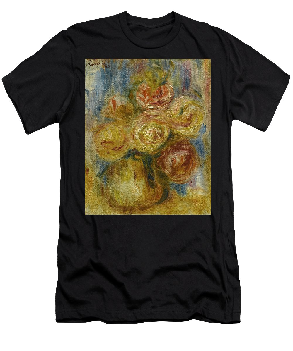 Pierre-auguste Renoir Men's T-Shirt (Athletic Fit) featuring the painting Roses by Pierre-Auguste Renoir