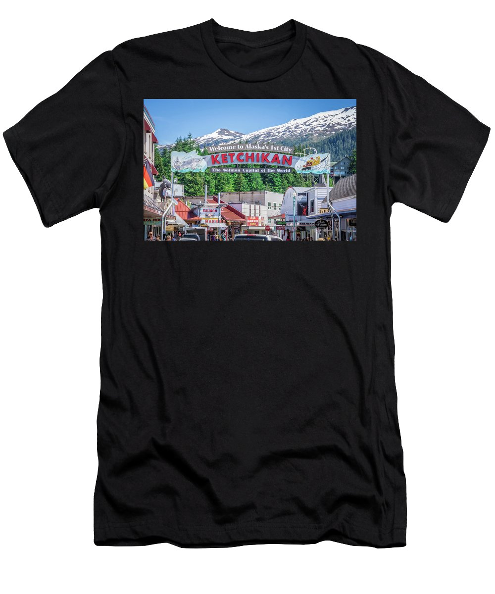 City Men's T-Shirt (Athletic Fit) featuring the photograph Scenery Around Alaskan Town Of Ketchikan by Alex Grichenko