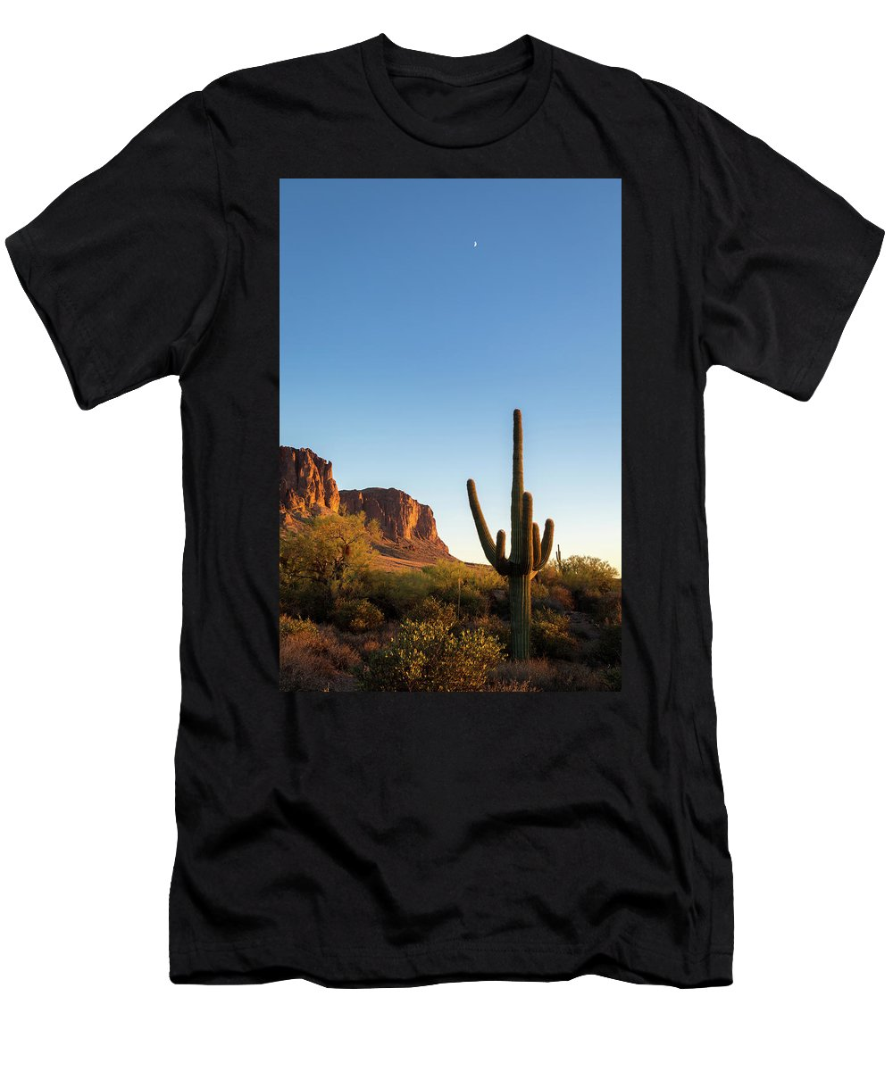 Superstition Men's T-Shirt (Athletic Fit) featuring the photograph Superstition Mountains Arizona by Jon Manjeot