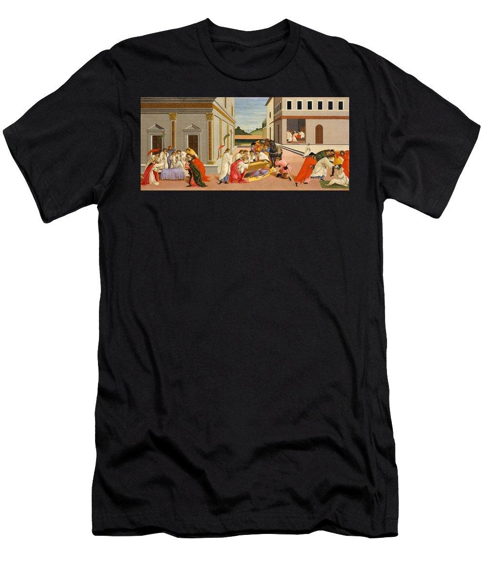 Alessandro Di Mariano Di Vanni Filipepi Men's T-Shirt (Athletic Fit) featuring the painting Three Miracles Of Saint Zenobius by Sandro Botticelli