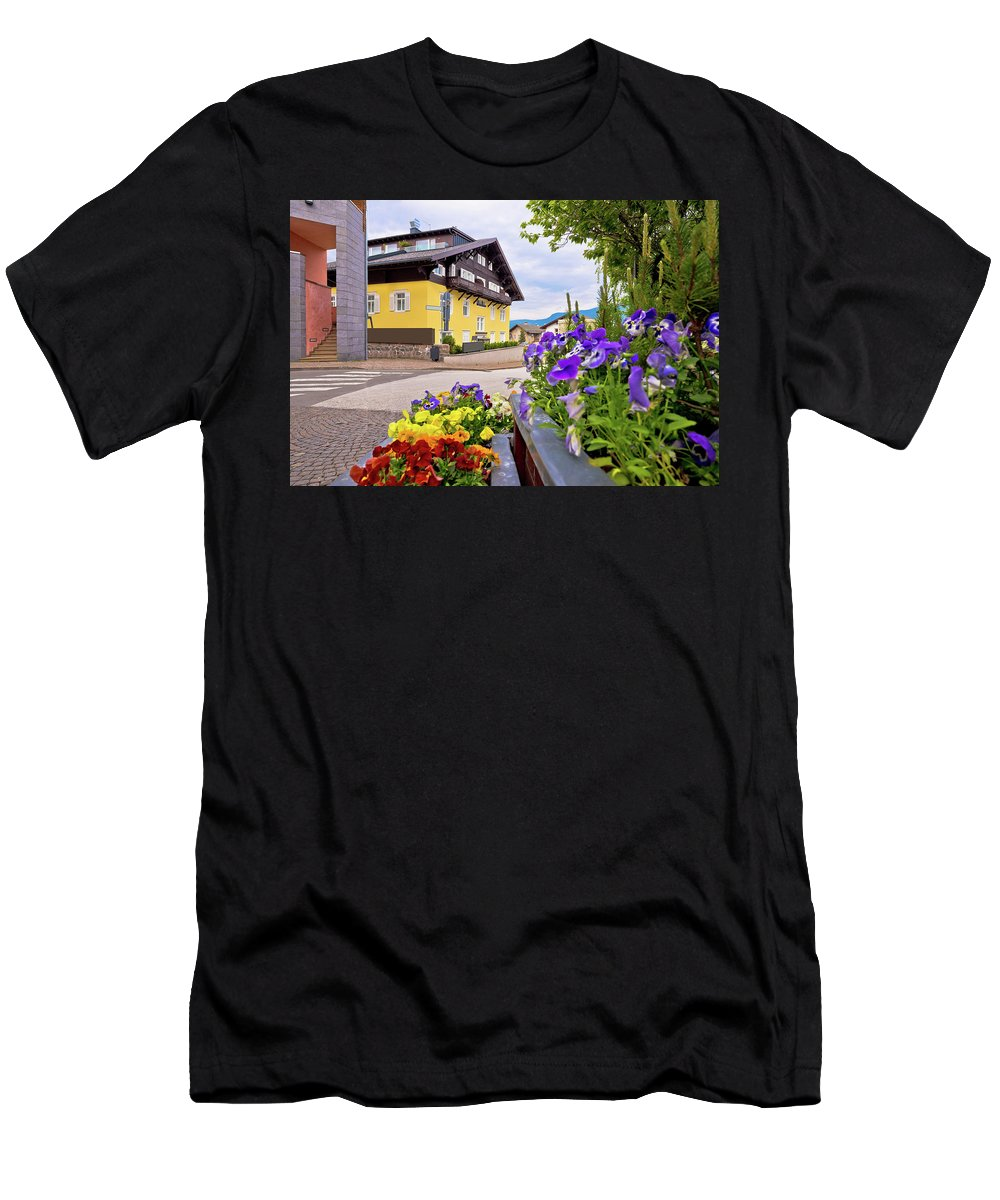 Kastelruth Men's T-Shirt (Athletic Fit) featuring the photograph Town Of Kastelruth Street View by Brch Photography