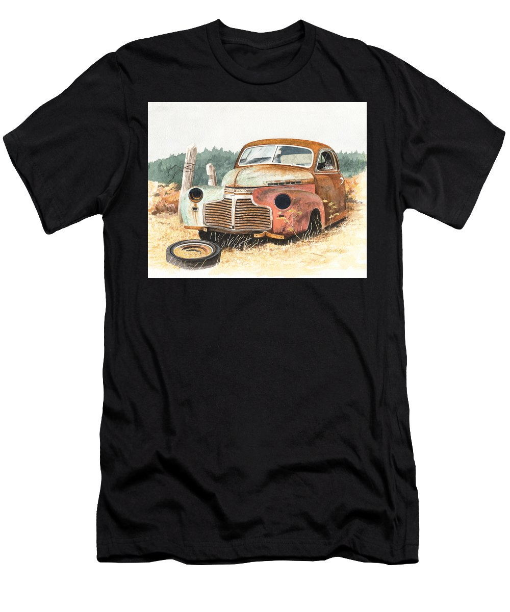 Abandoned Men's T-Shirt (Athletic Fit) featuring the painting '41 Fleetline by Scott Lang