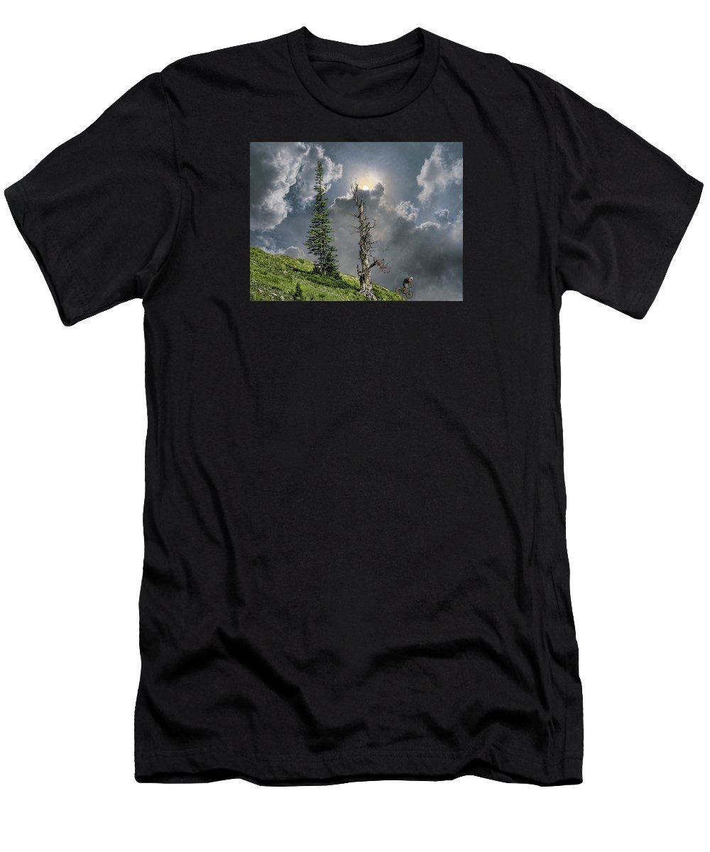 Cyclist Men's T-Shirt (Athletic Fit) featuring the photograph 4268 by Peter Holme III