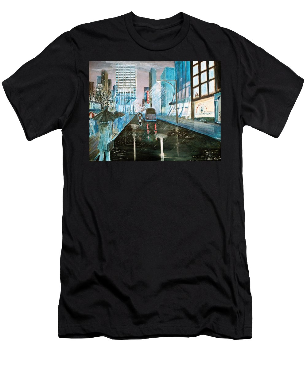 Street Scape Men's T-Shirt (Athletic Fit) featuring the painting 42nd Street Blue by Steve Karol