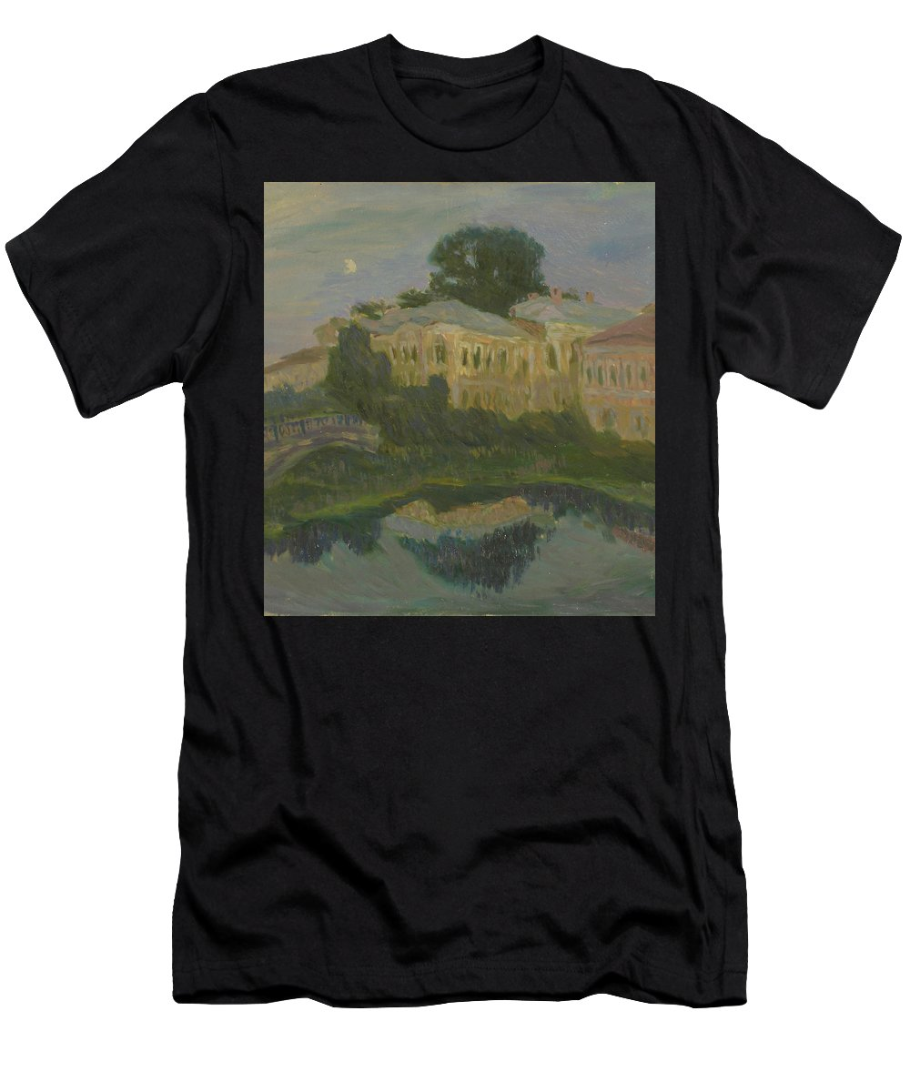 River Men's T-Shirt (Athletic Fit) featuring the painting Landscape by Robert Nizamov