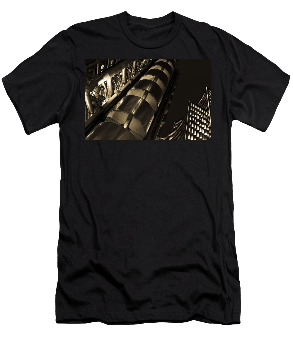 Lloyds Men's T-Shirt (Athletic Fit) featuring the photograph Lloyd's Building London by David Pyatt