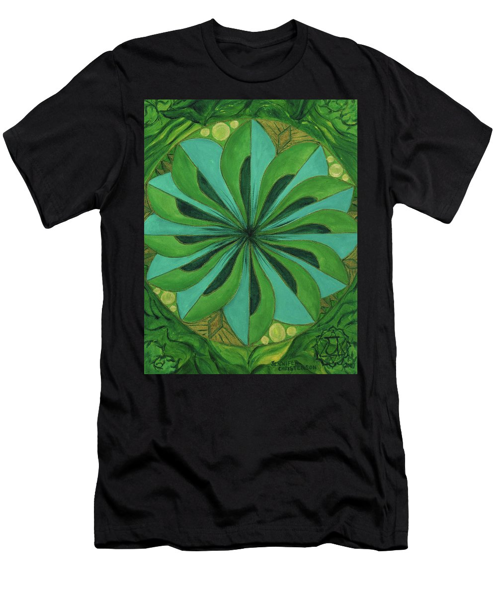Mandala Men's T-Shirt (Athletic Fit) featuring the painting 4th Mandala - Heart Chakra by Jennifer Christenson