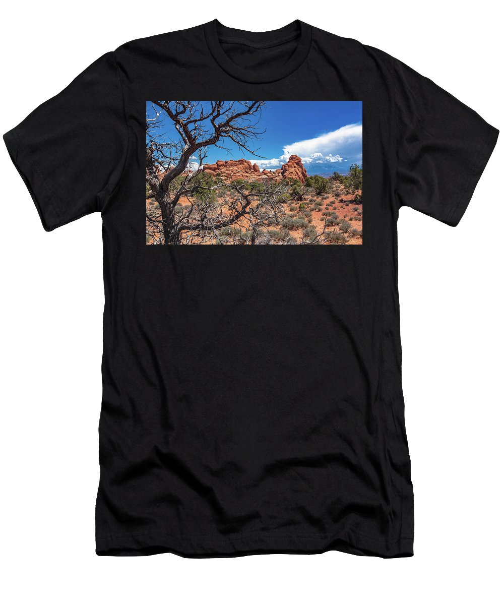 Arches National Park Men's T-Shirt (Athletic Fit) featuring the photograph Arches National Park by Steven Eyre Photography