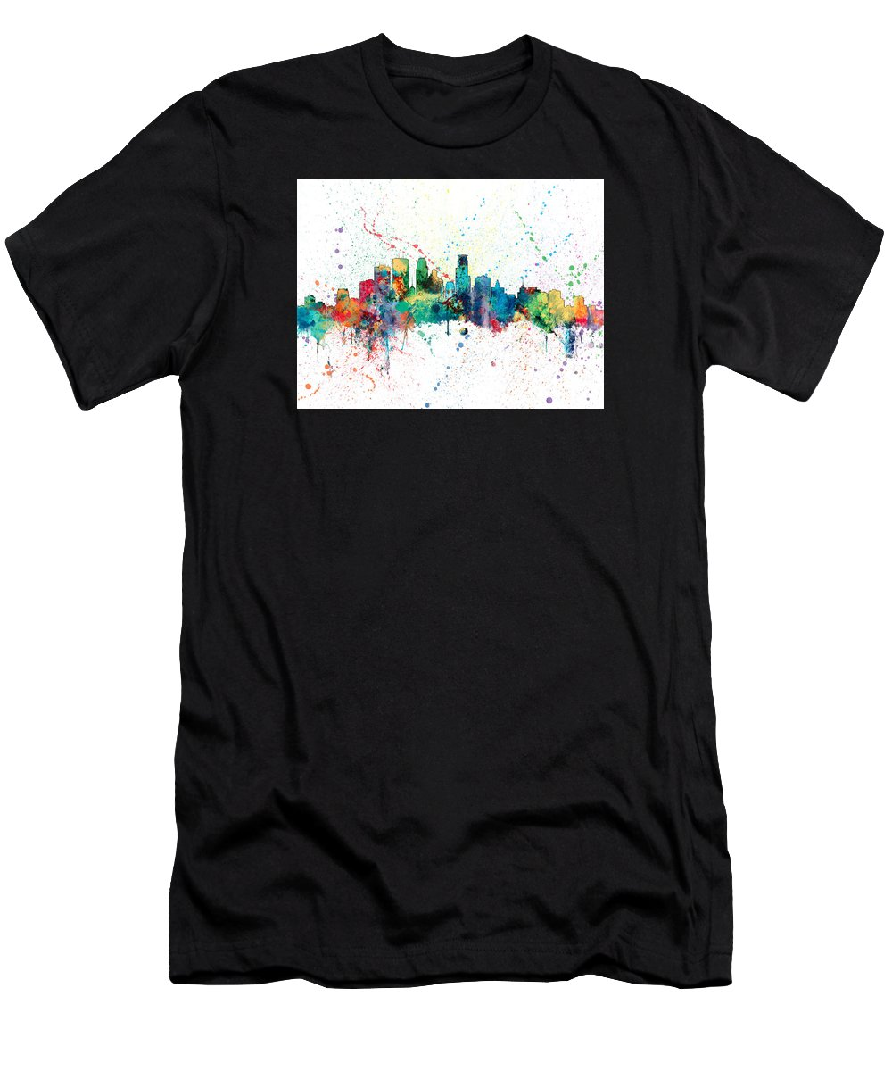 United States T-Shirt featuring the digital art Minneapolis Minnesota Skyline by Michael Tompsett