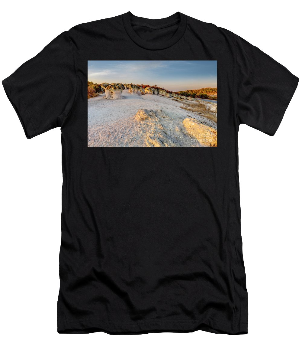 Bulgaria Men's T-Shirt (Athletic Fit) featuring the photograph Mushroom Rock Phenomenon At Sunset by Nikolay Stoimenov