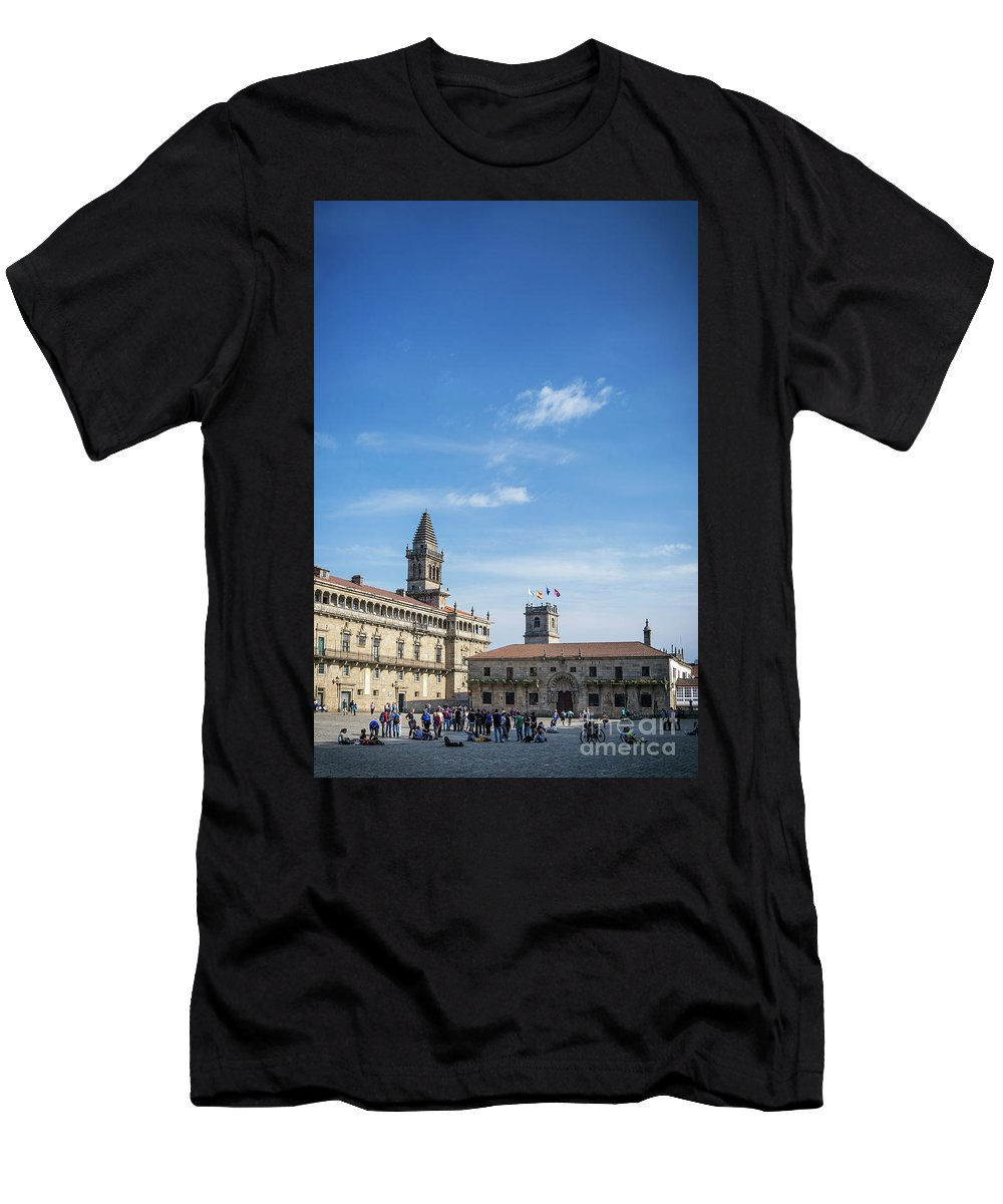 Obradoiro Men's T-Shirt (Athletic Fit) featuring the photograph old town Obradoiro Square near santiago de compostela cathedral by Jacek Malipan