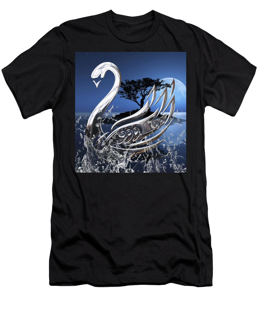 Swan Men's T-Shirt (Athletic Fit) featuring the mixed media Swan Art. by Marvin Blaine
