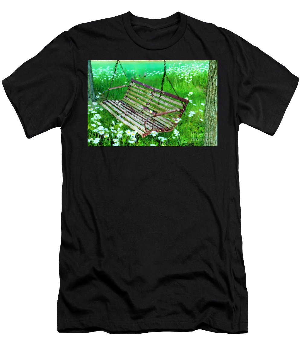 Swing In Daisies Men's T-Shirt (Athletic Fit) featuring the photograph Swing In The Daisies by David Arment