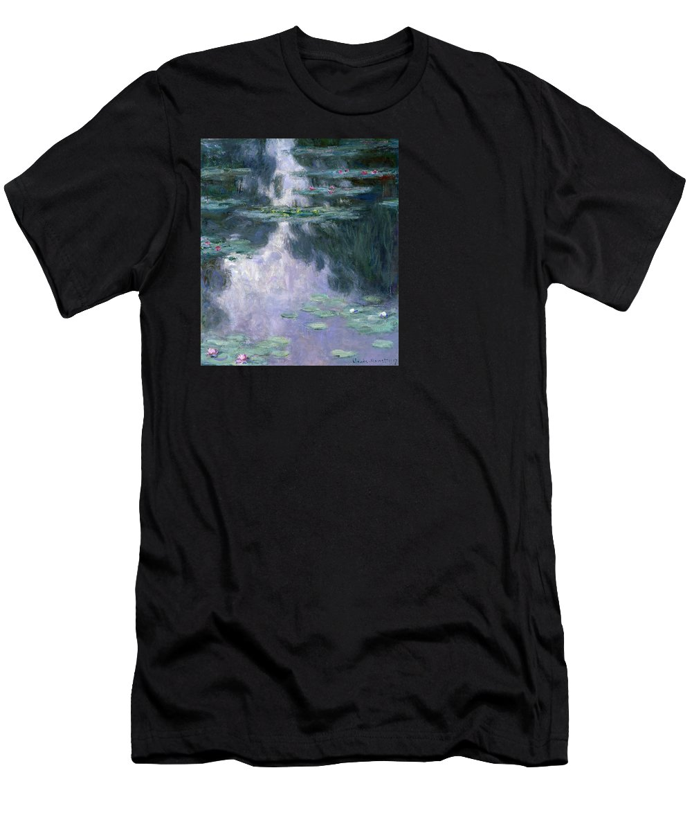 Nympheas Men's T-Shirt (Athletic Fit) featuring the painting Waterlilies by Claude Monet