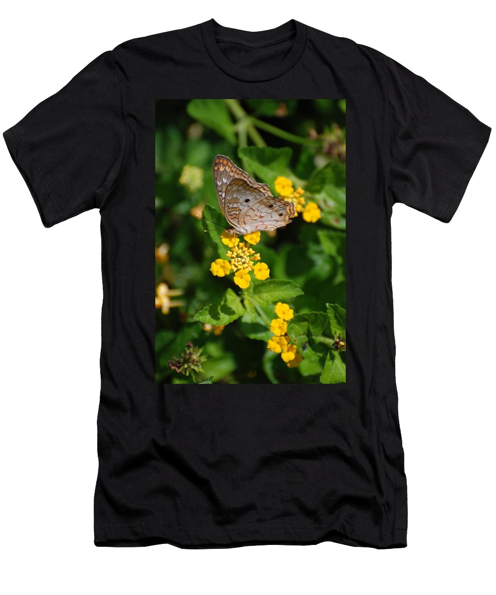 Butterfly Men's T-Shirt (Athletic Fit) featuring the photograph 5 Yellow Flowers And A Buttefly by Rob Hans