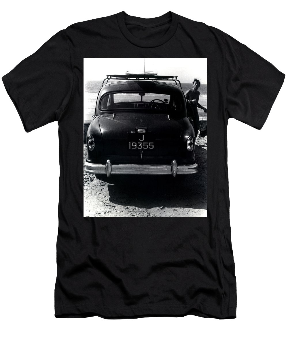 Surf Men's T-Shirt (Athletic Fit) featuring the photograph 50's Surfer by Charles Stuart