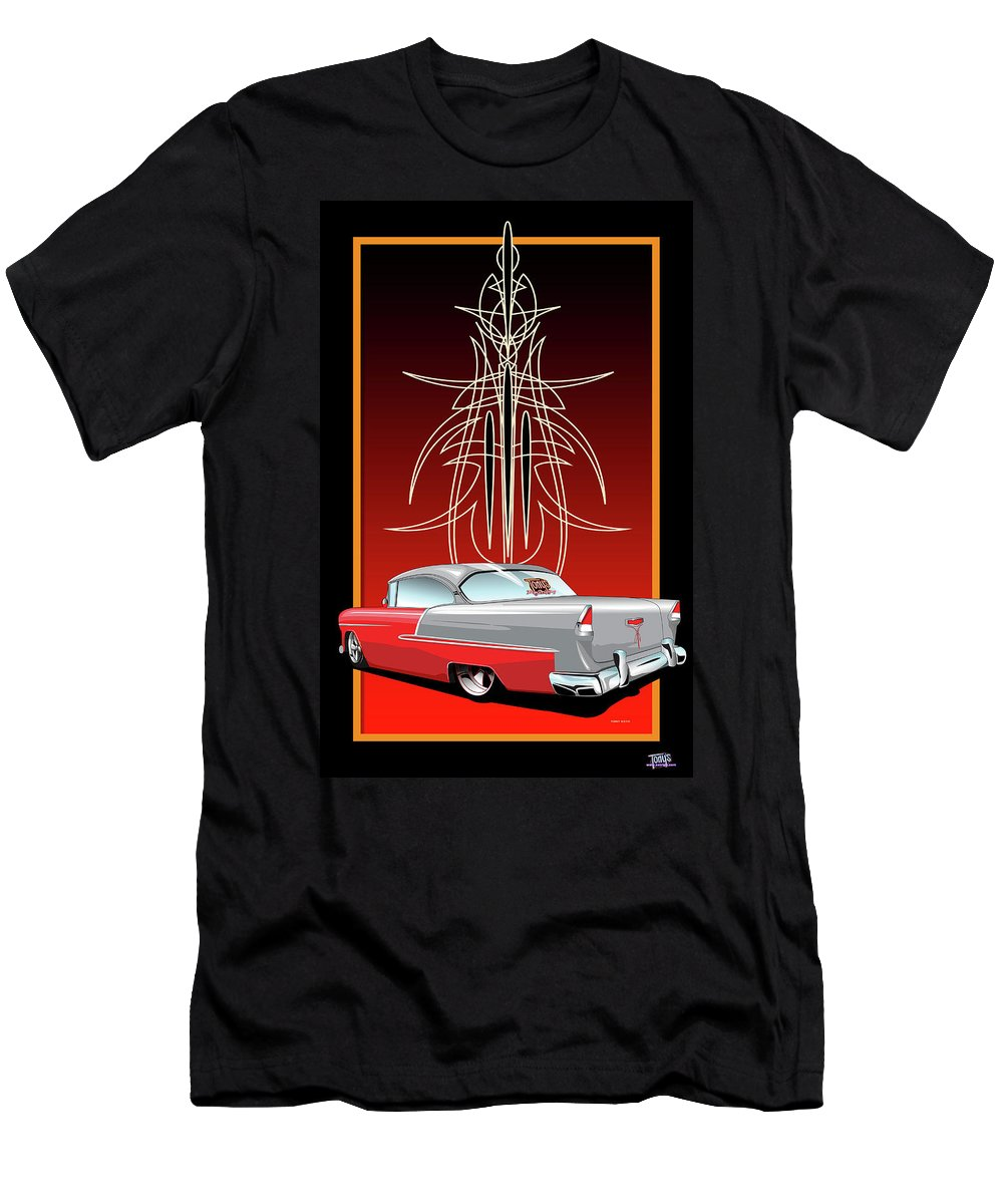 Hot Rod Men's T-Shirt (Athletic Fit) featuring the digital art 55 Chevy Pinstriping by Tony Perez