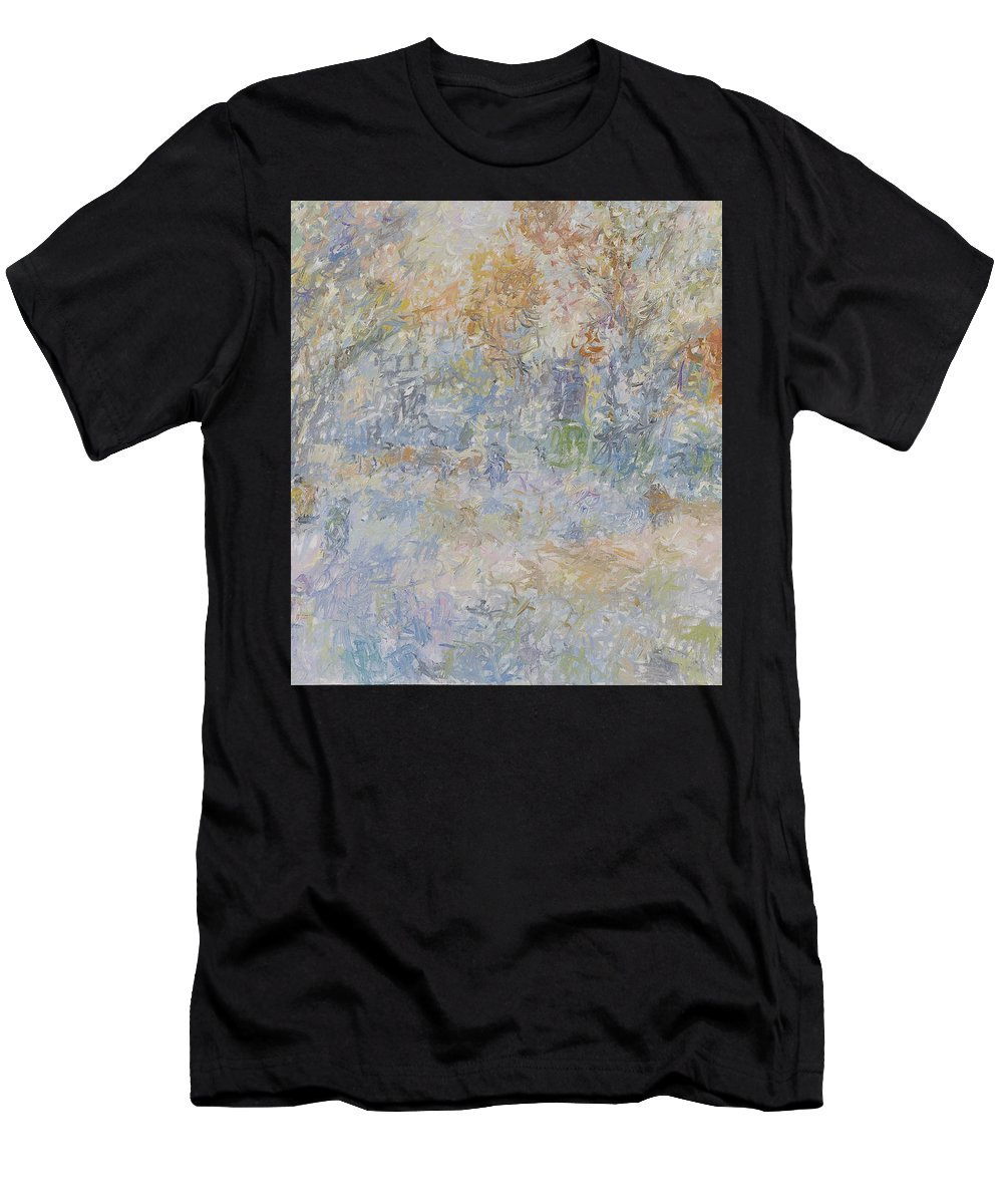 Landscape Men's T-Shirt (Athletic Fit) featuring the painting Winter by Robert Nizamov