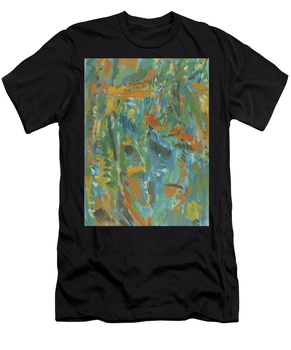 River Men's T-Shirt (Athletic Fit) featuring the painting Boats by Robert Nizamov