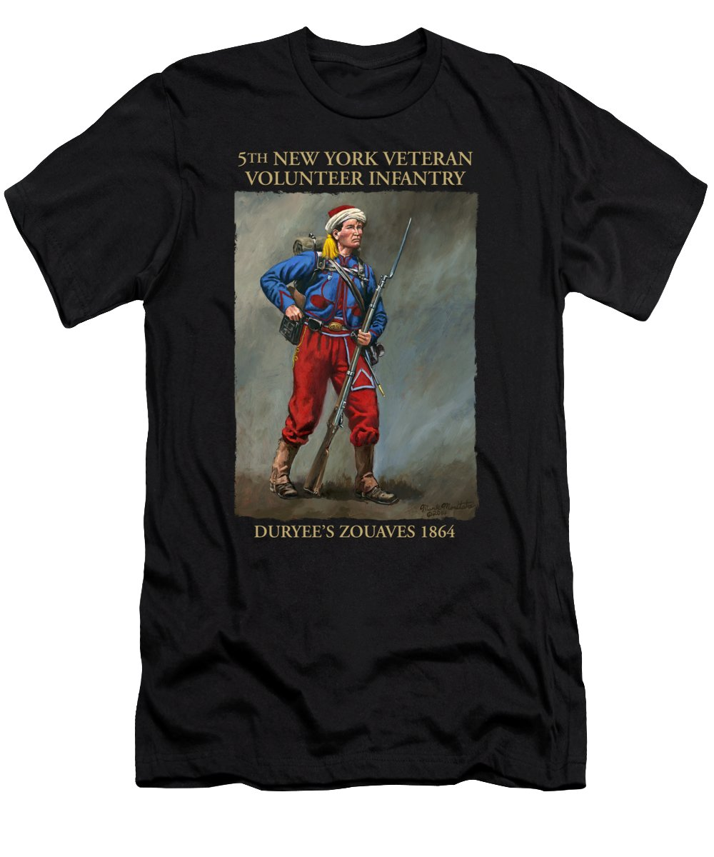 Maritato Men's T-Shirt (Athletic Fit) featuring the painting 5th New York Veteran Volunteers - Duryee's Zouaves 1864 by Mark Maritato