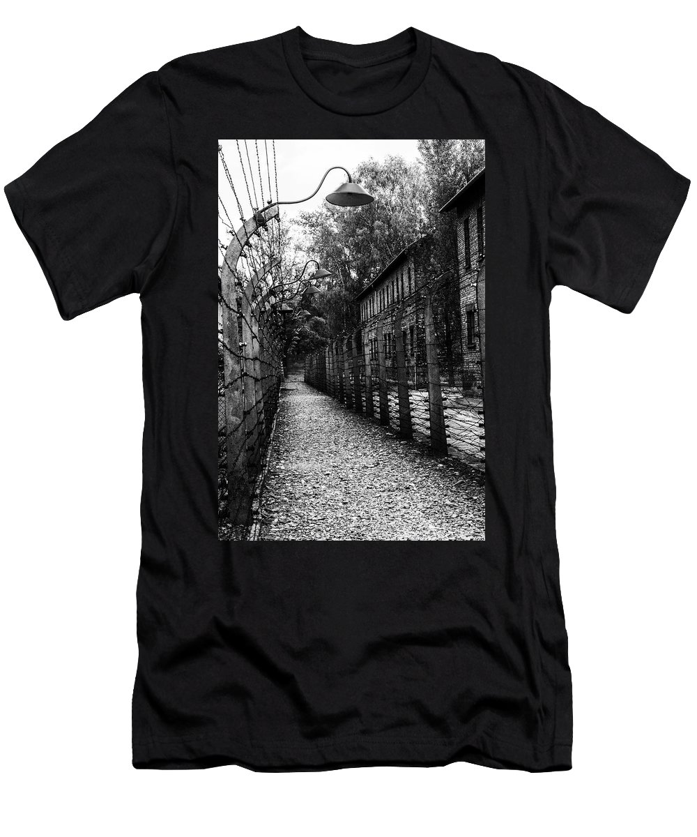 Men's T-Shirt (Athletic Fit) featuring the photograph Auschwitz by Angela Aird