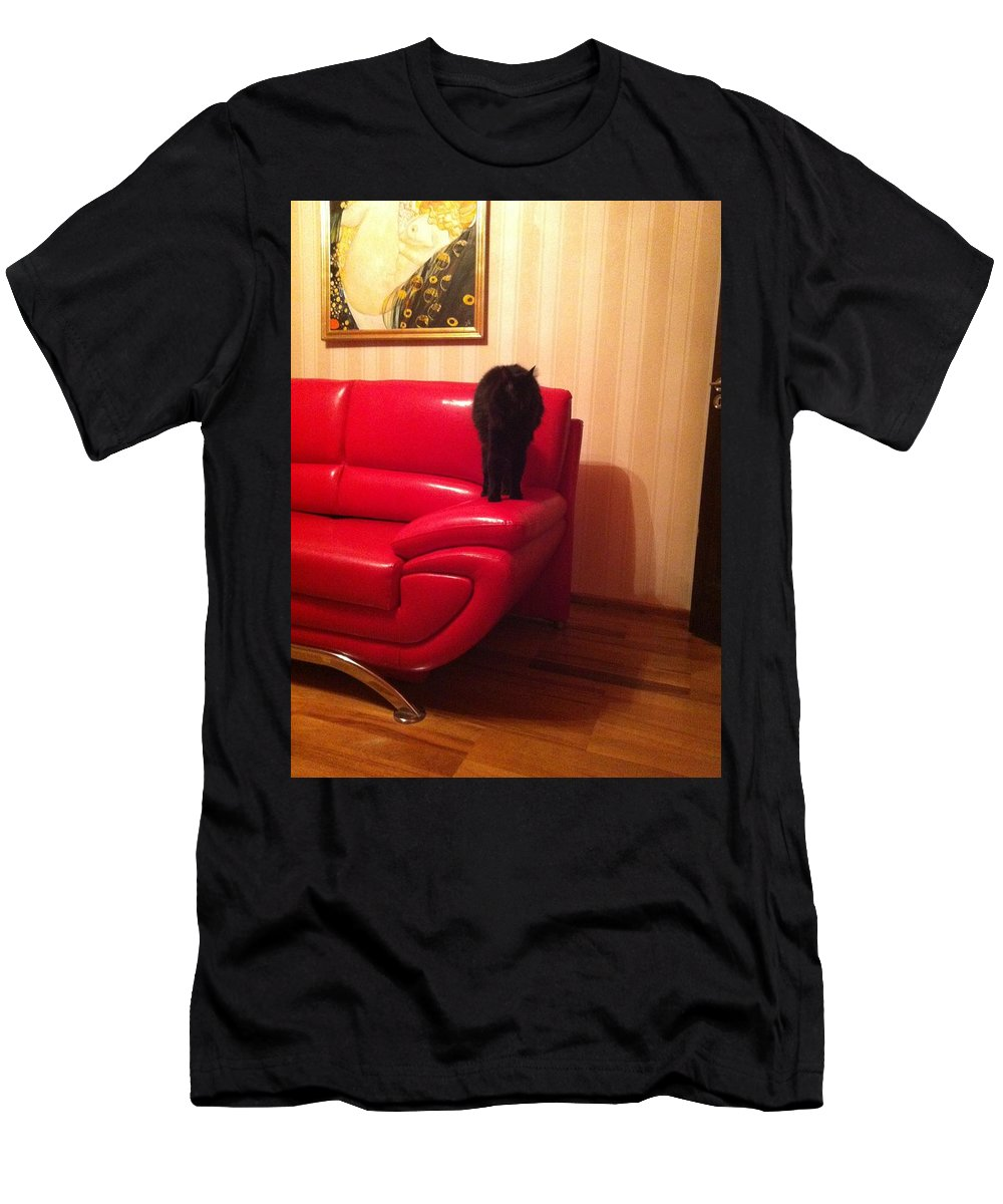 Men's T-Shirt (Athletic Fit) featuring the photograph Black Cat by Daniela Buciu
