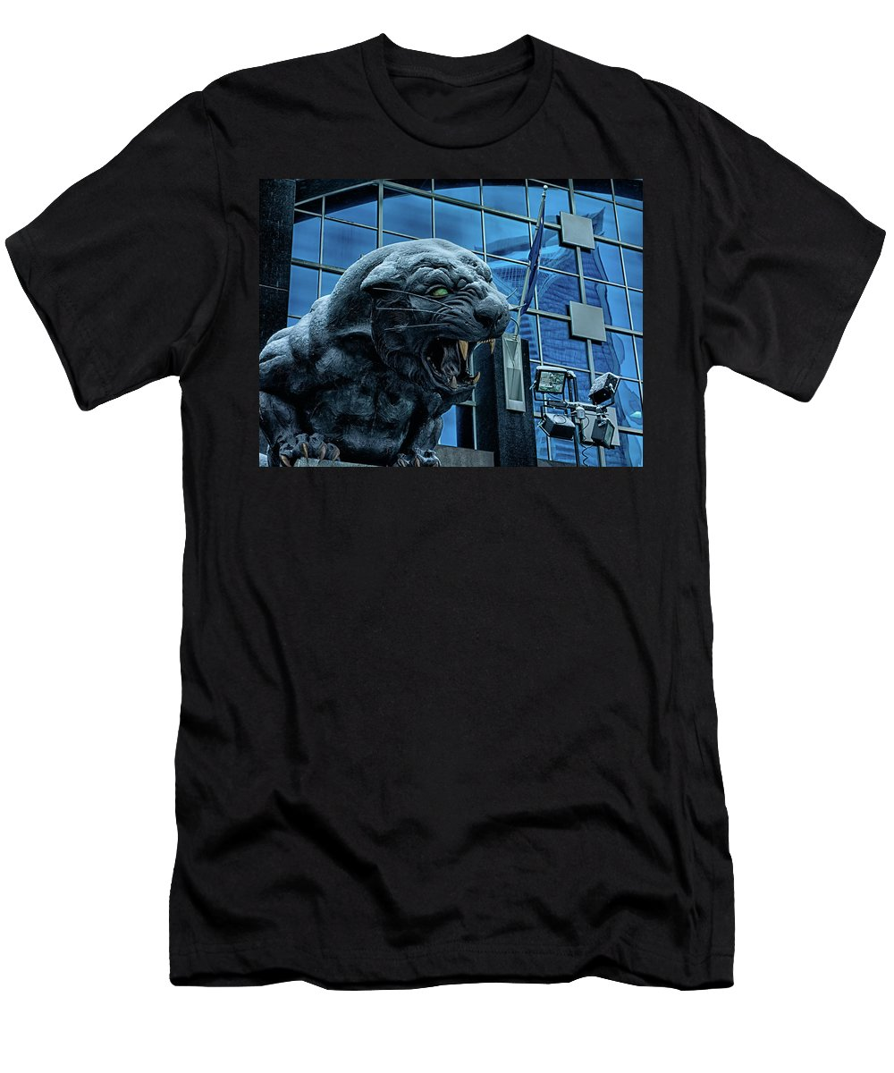 Carolina Men's T-Shirt (Athletic Fit) featuring the photograph Carolina Panthers Statue Covered In Snow by Alex Grichenko
