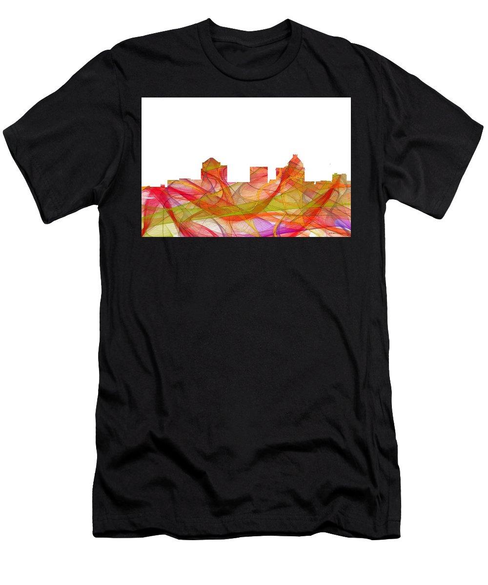 Greensboro North Carolina Skylineskyline Men's T-Shirt (Athletic Fit) featuring the digital art Greensboro North Carolina Skyline by Marlene Watson