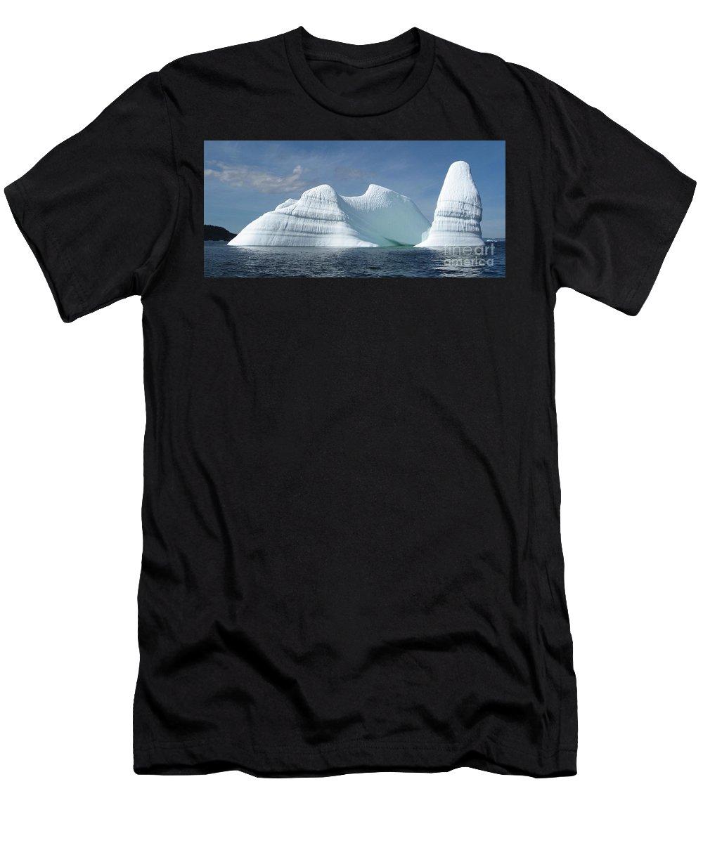 Iceberg Photograph Ice Water Ocean Sea Atlantic Summer Newfoundland Men's T-Shirt (Athletic Fit) featuring the photograph Iceberg by Seon-Jeong Kim