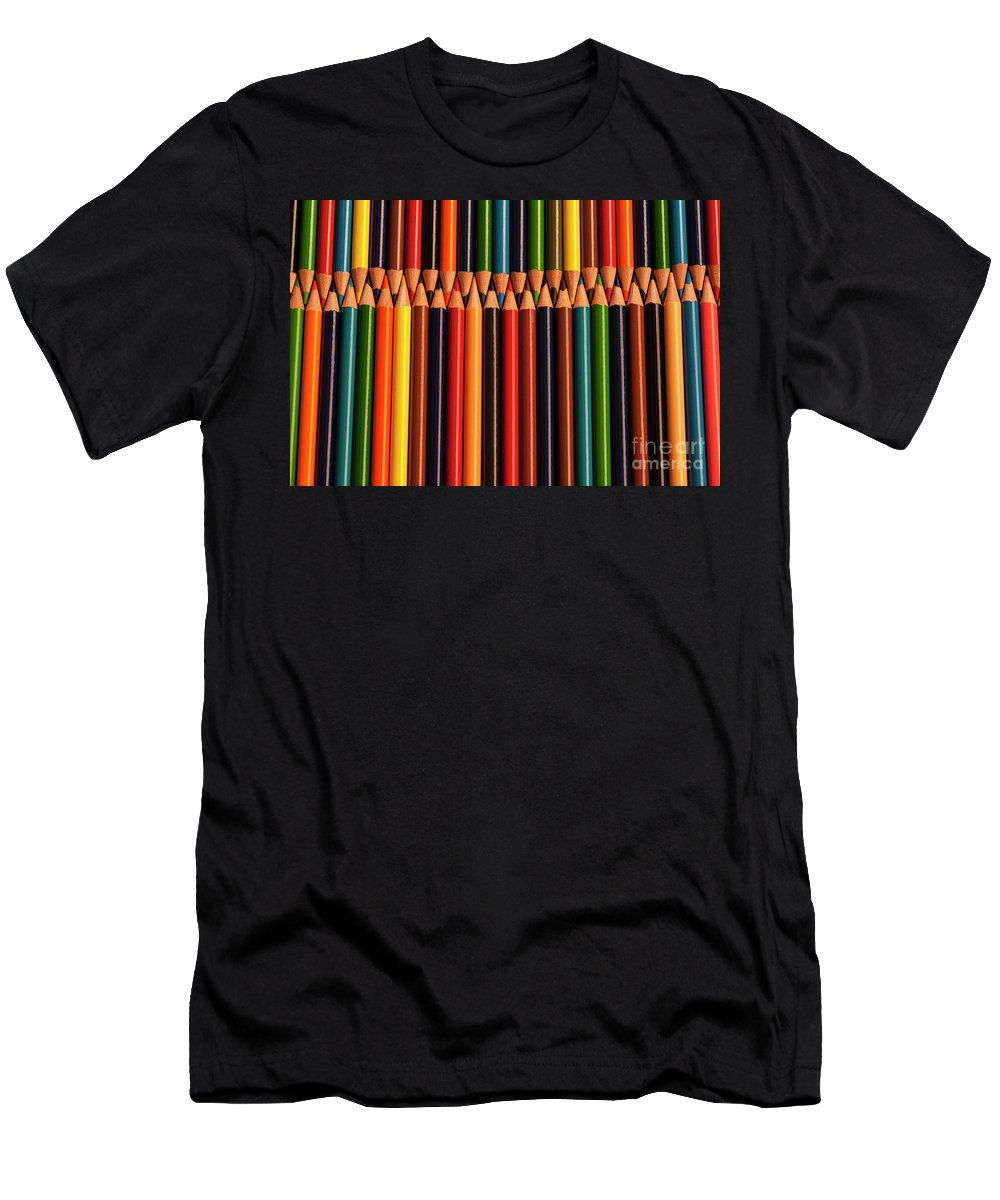 Abstract Men's T-Shirt (Athletic Fit) featuring the photograph Multicolored Pencils by Jim Corwin