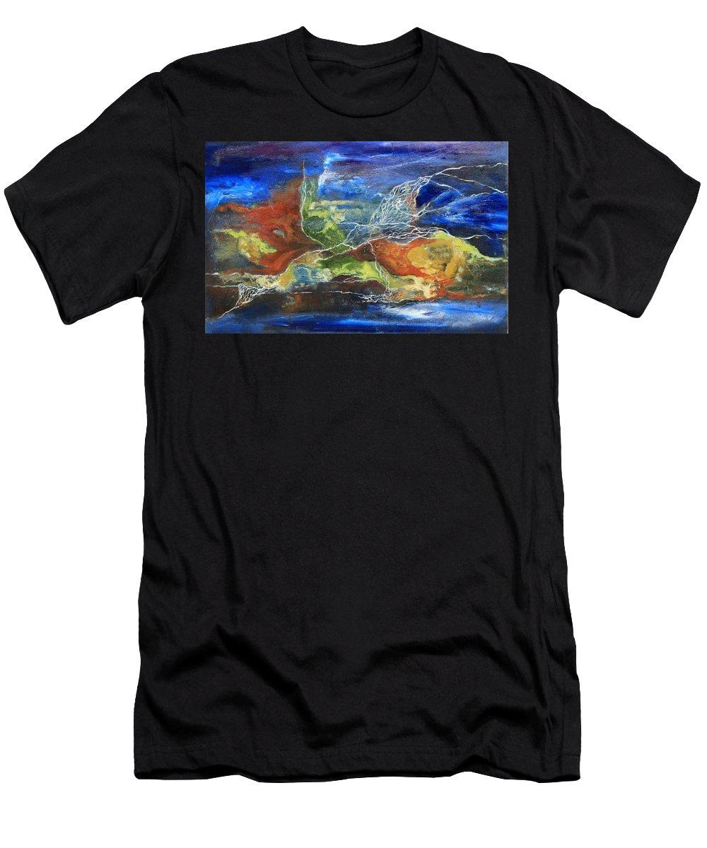 Abstractl Men's T-Shirt (Athletic Fit) featuring the painting Untitled by Aneela Kashif