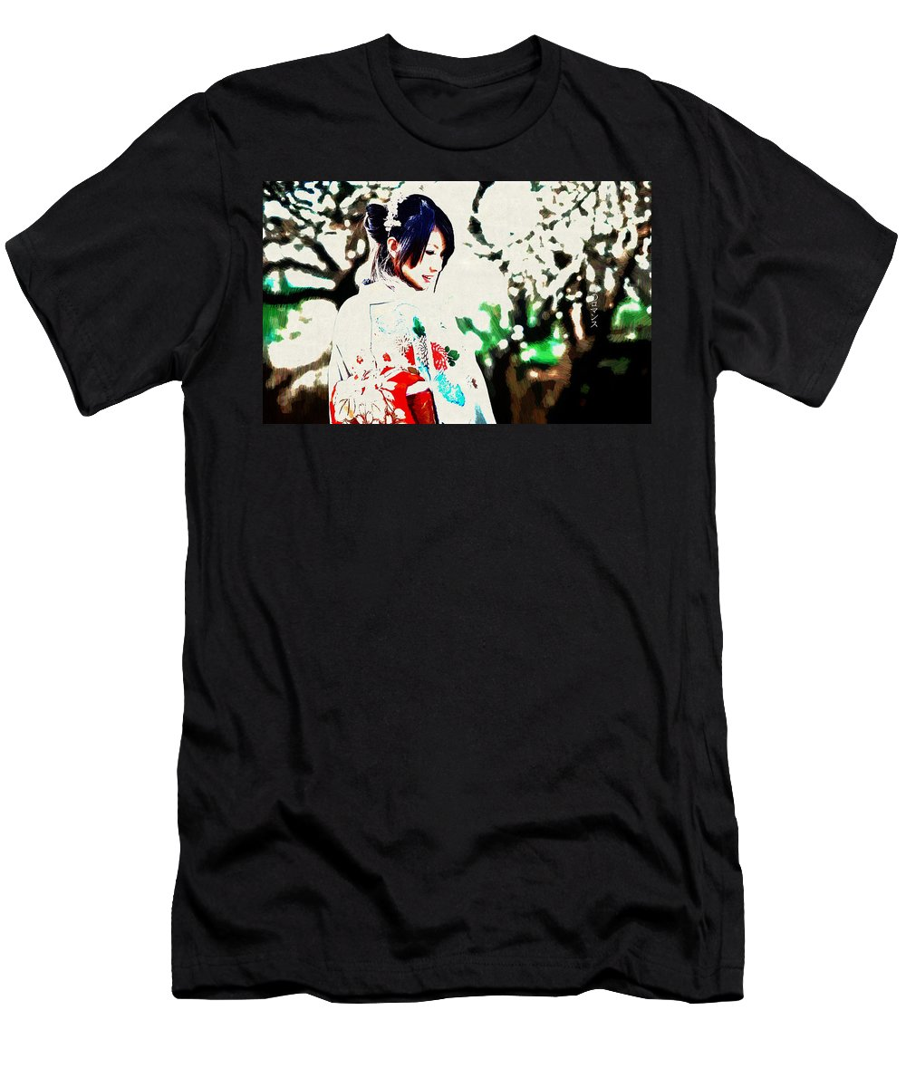 Asian Men's T-Shirt (Athletic Fit) featuring the digital art Asian by Lora Battle