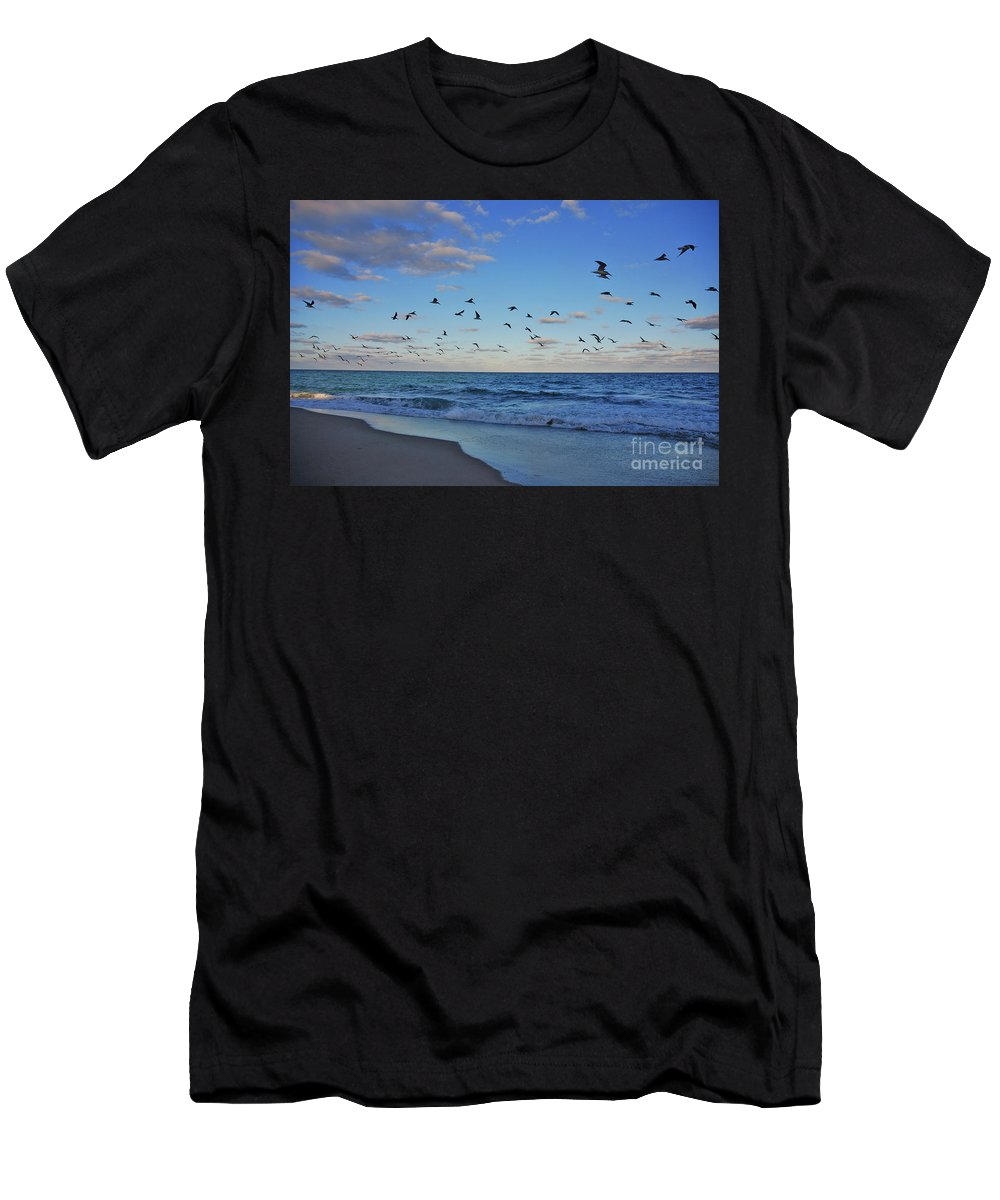 Black Skimmers Men's T-Shirt (Athletic Fit) featuring the photograph 65- Black Skimmers by Joseph Keane