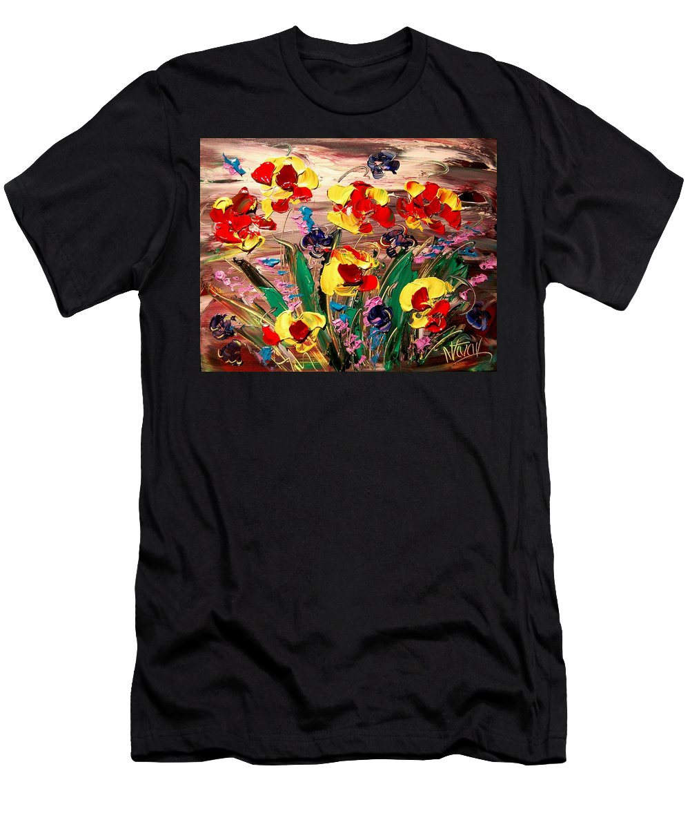 Landscape Framed Prints Men's T-Shirt (Athletic Fit) featuring the painting Flowers by Mark Kazav