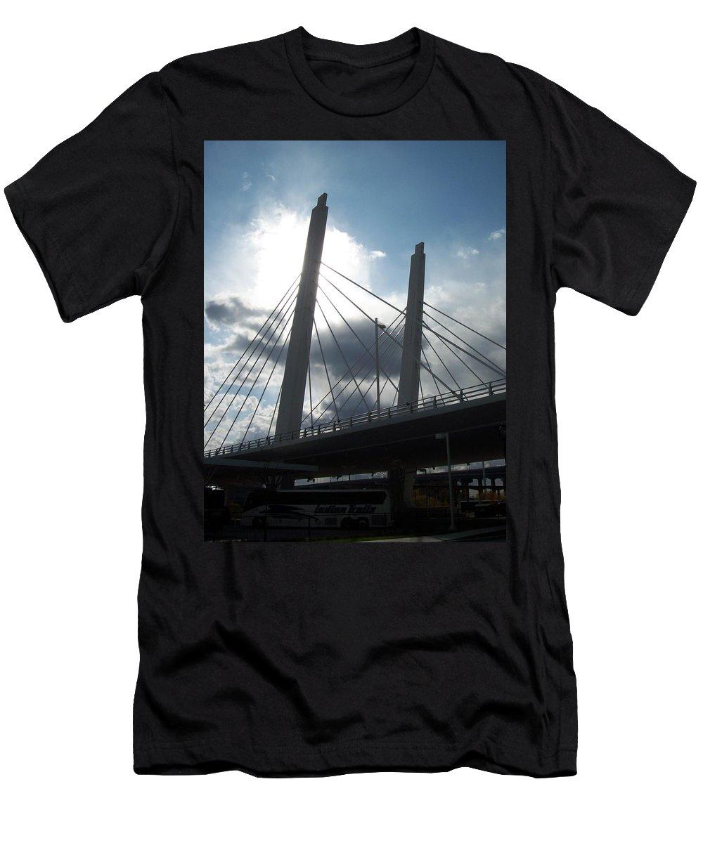 Bridge Men's T-Shirt (Athletic Fit) featuring the photograph 6th Street Bridge Backlit by Anita Burgermeister