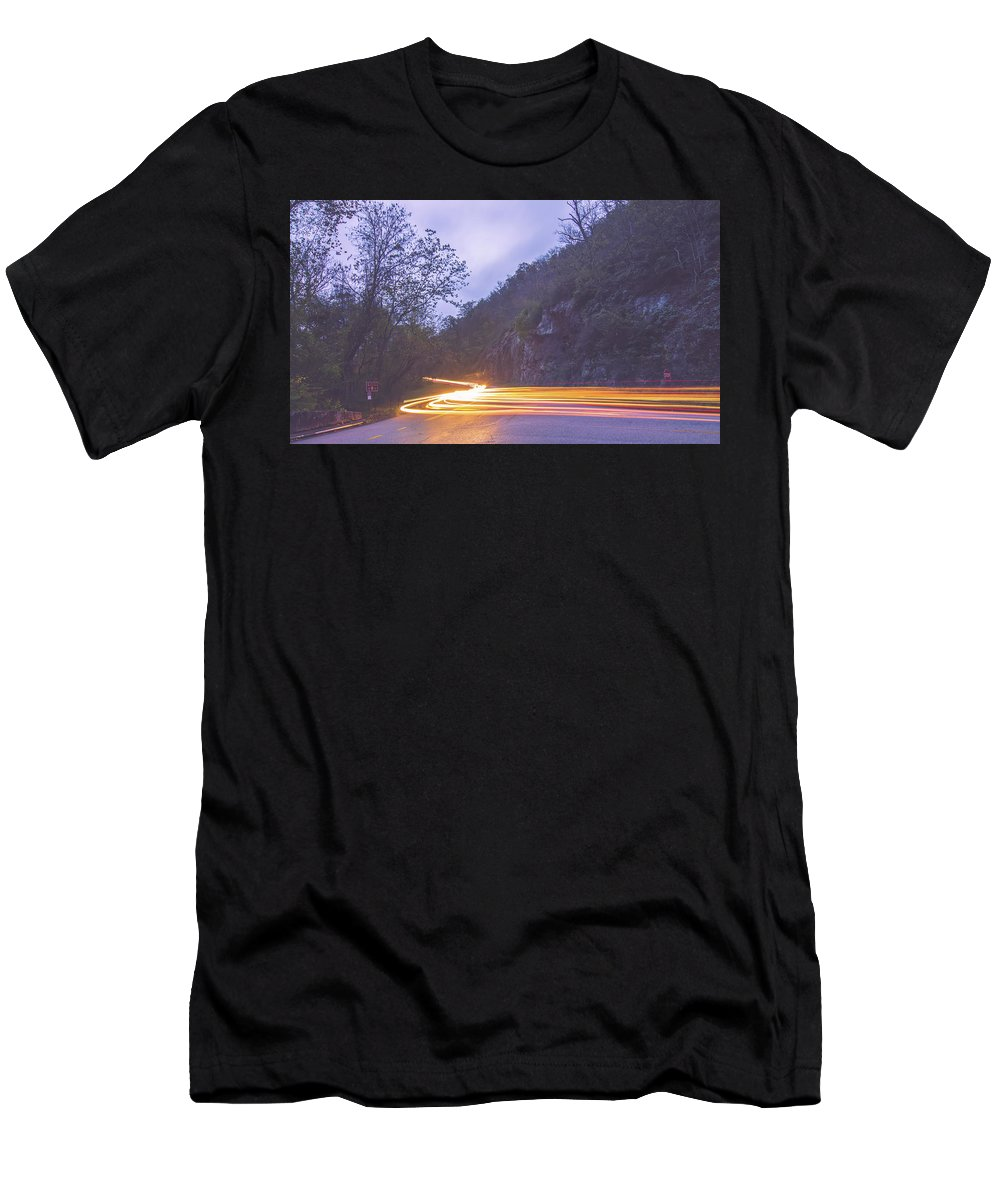 View Men's T-Shirt (Athletic Fit) featuring the photograph Automobile Traffic Long Exposure At Dusk In Pisgah National Park by Alex Grichenko