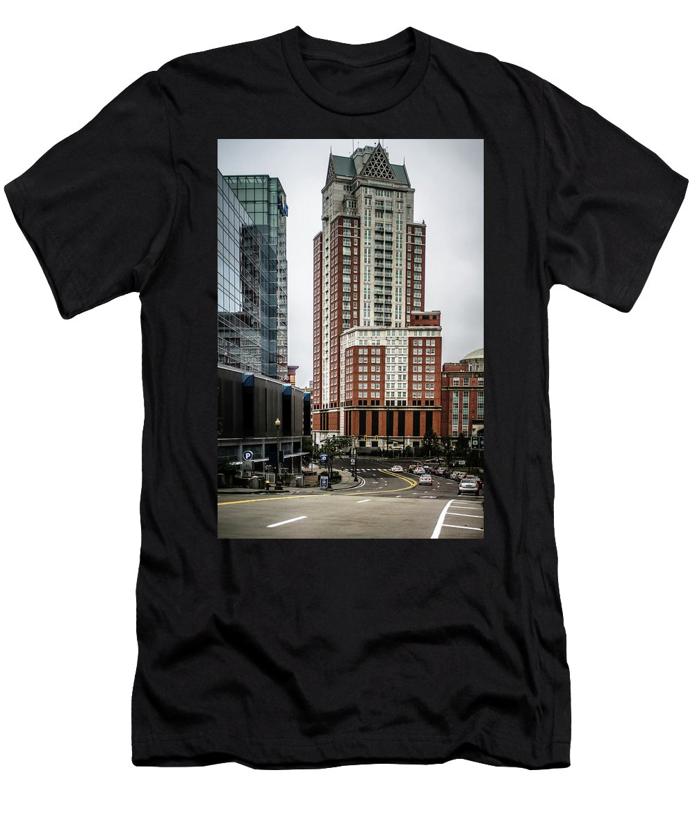 Providence Men's T-Shirt (Athletic Fit) featuring the photograph Providence Rhode Island City Skyline In October 2017 by Alex Grichenko
