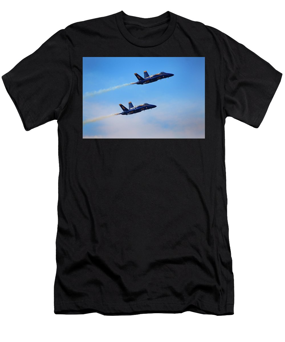 U S Navy Men's T-Shirt (Athletic Fit) featuring the photograph U S Navy Blue Angeles, Formation Flying, Smoke On by Bruce Beck