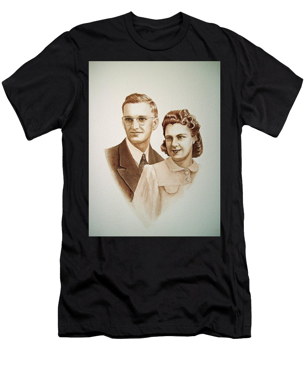 Anniversary Men's T-Shirt (Athletic Fit) featuring the painting 70 Years Together by Irina Sztukowski